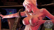 Marie-Claude Bourbonnais posing with gun big tits in Garage